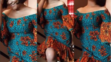 Nadia Buari slaying effortlessly in Off Shoulder Ankara Dress